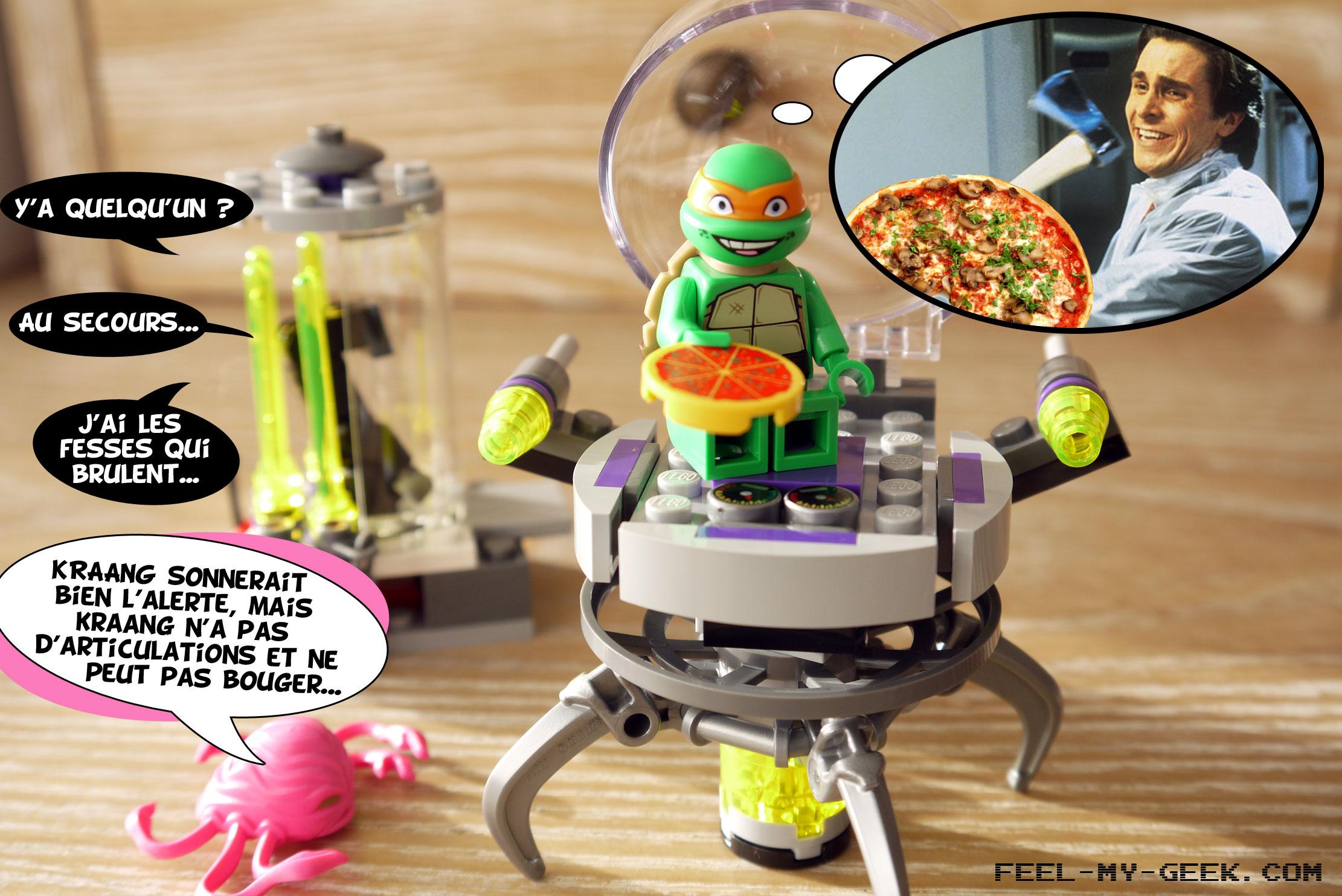 Mikey découvre alors une Pizza dans le vaisseau d'un Kraang et la goûte. Ce qu'il ne sait pas, c'est que c'est un prototype de pizza aux anchois de l'espace, réputée pour rendre fou même les plus sains d'esprit. C'est d'ailleurs arrivé il y a quelques mois à Bruce Wayne, qui a sauvagement assassiné Alfred à la hache, avant de se défenestrer du rez de chaussée. Mais le temps que Mikey se souvienne de cette anecdote sordide, il est déjà trop tard...