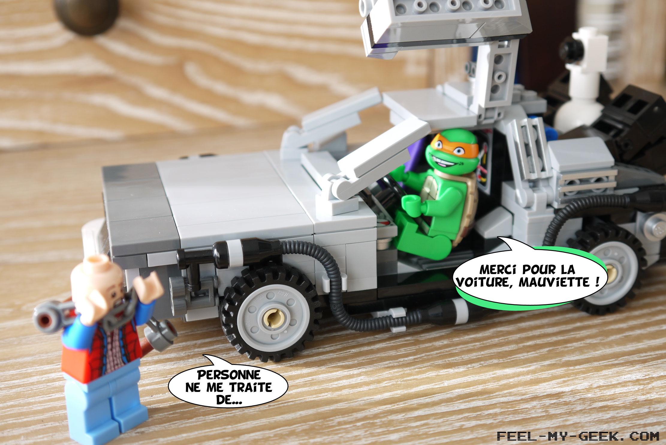 Comprenant qu'il faut quand même prendre la fuite, Michelangelo décide de voler la DeLorean de Marty !
